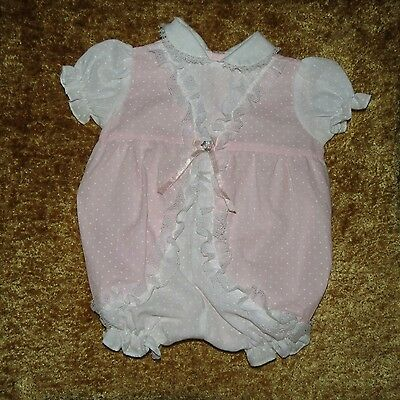 Precious Vintage Cradle Togs Lacy One-Piece Bubble Romper Pink Polka-Dot 6-9 M