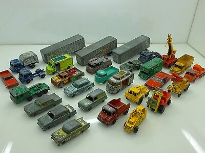 Vintage Lesney Husky Matchbox Marx Toys Job Lot 29 Cars Truck Trailer Collection