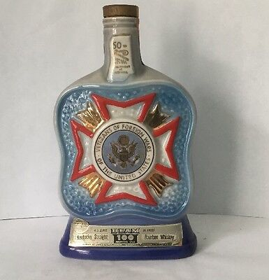 Vintage Collectible 1971 Jim Beam Decanter 50th Anniversary Indiana VFW VGUC FS