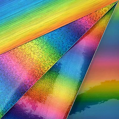 Rainbow Vinyl Glitter Fabric A4 Or A5 Sheets Felt Backed For Bows & Crafts