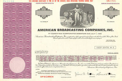 American Broadcasting Companies > ABC stock certificate now part of Disney