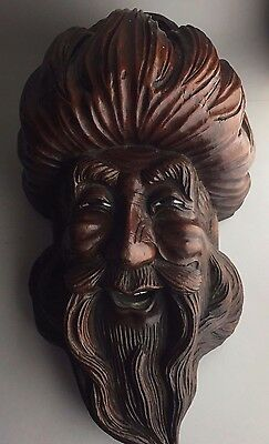 Vintage Carved Wood Chinese Mask Wall Hanging Antique Carving Signed