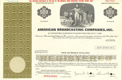 American Broadcasting Companies > ABC $500 stock certificate now part of Disney