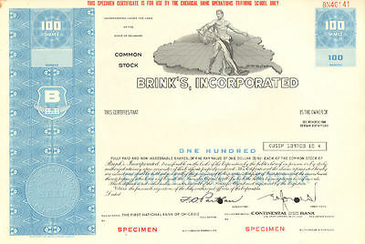 Brink's  Home Security 100 share specimen stock certificate