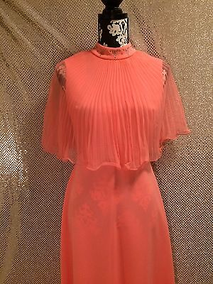 VTG Peach Rhinestone Cape Gown by Miss Rubette Inc Size M/ L 70's Disco Dress