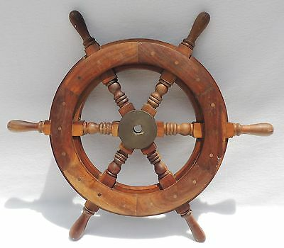 Gorgeous Vintage 1950's Wood & Brass Nautical Boat Ship's Wheel #2006