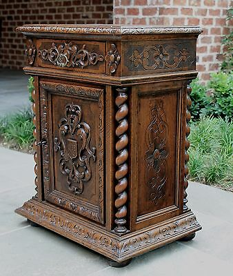 Antique French Carved Oak GOTHIC Barley Twist Side Cabinet Nightstand End Table