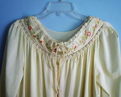 Vintage Lorraine Ivory Long Nightgown Matching Robe Embroidery Lace S