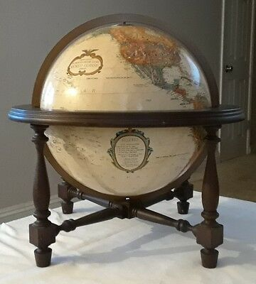 "REPLOGLE 12"" inch diameter Globe World Classic Series Table Model/WOOD STAND."