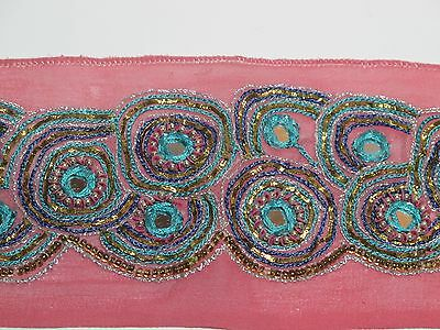"Vintage Border Sari Trim  1 yd lL,  6"" W heavily embroidered   FREE SHIP pink"