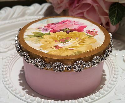 PINK shabby vintage FrEnCh Rose RHINESTONE covered box OMG!! jewels *~