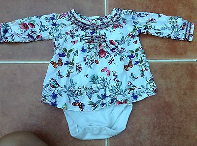M&S Baby Girl Top With Vest 0-3 Months