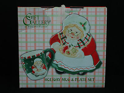 Fitz and Floyd Gift Gallery Holiday Mug & Plate Set Mrs. Claus in Box Christmas