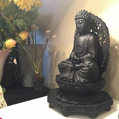 "17"" Rare Very Old Wood Hand-Carved Buddha statue"