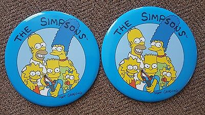 """The Simpsons - Lot of 2 Simpson Family Large 6"""" Lapel Pin Buttons"""