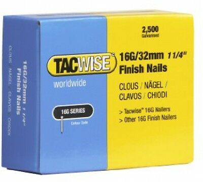 Tacwise 16G 32mm Straight Brad Finish Nails For Nail Gun (2500 Box)