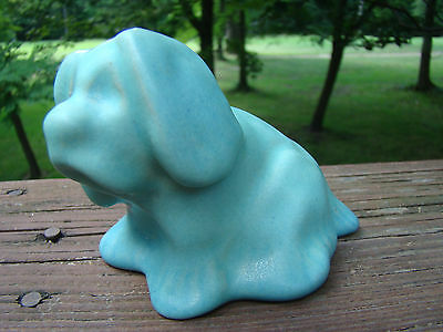Van Briggle Pottery Small Puppy Dog Aqua Tourquoise