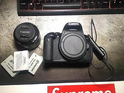 Canon EOS 700D DSLR + 50MM 1.8/f Lens + Remote shutter + 3 LP-E8 Batteries