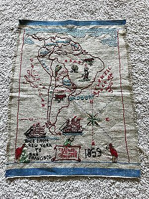 Antique Needlework of 1853 Race from New York to San Francisco