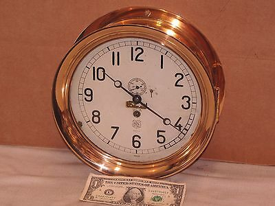 Chelsea  Pilot House Clock~Ashcroft American~1907~10 1/2 In Case~Red Brass