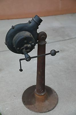 blacksmith tools antique hand cranked blower with stand