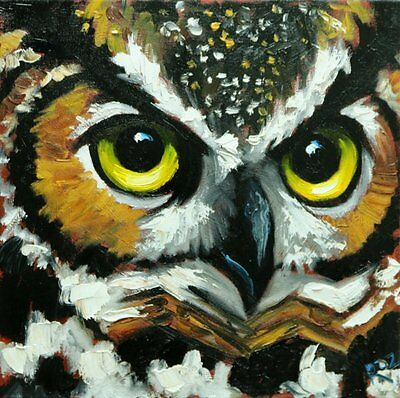 "Owl 134 - 12x12"" original oil painting by Roz"