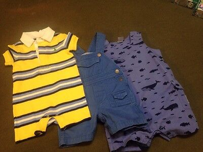 Lot 3 Pc. Infant Baby Boy Romper Ralph Lauren Tommy Hilfiger Carters 9-12 Mo