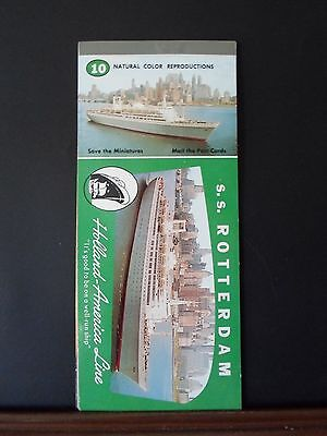 """S.S. """"Rotterdam"""", 10 color photo unused post-cards, 8"""" X 3 1/2""""."""