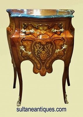 Marvelous marble top Louis XV style marquetry side commode