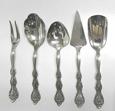 National Silver Plate Small Hostess 5 Piece Serving  Set Interlude Pattern