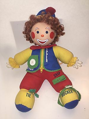 Horsman Clown Doll VINTAGE Pull String Zipper Button Buckle Learning FREE SHIP