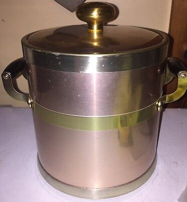 Vintage Kraftware Copper & Gold Look Ice Bucket With Lid Wood Handles