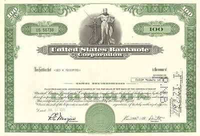 United States Banknote Corporation > 1971 Virginia bank note stock certificate