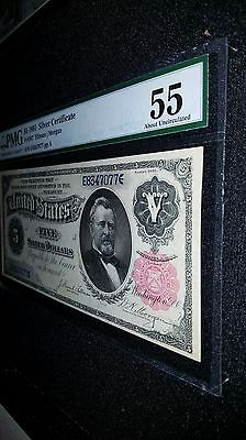 """1891 $5 Silver Certificate """"Grant"""" AU About Uncirculated PMG Antique Currency 2"""