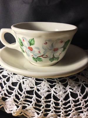 Syracuse China~101C/ Homer Laughlin ~Beautiful Flowered Cup Set~ Fabulous