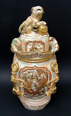 "Antique Hand Painted 12.5"" Satsuma Covered Urn Vase Foo Dog Finial 1870"