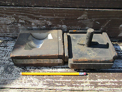 Two Vintage Antique Old Foundry Industrial Wooden Gear Pattern Mold Press Lot