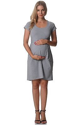BNWT Cotton Maternity & Breastfeeding Dress - Grey - Sizes 8,10,12,14 & 16