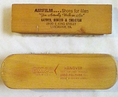 Two Vintage Shoe Brushes Airfilm Shoes Sayers, Scheid and Sweeton Lancaster Pa