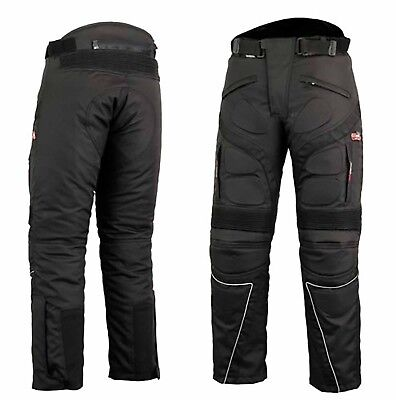 Waterproof Motorcycle Biker Cordura Textile Trousers thermal lining Pants Black