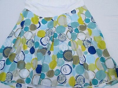 Mimi Maternity Large Cotton Spandex Graphic Pleated Skirt Women's Maternity