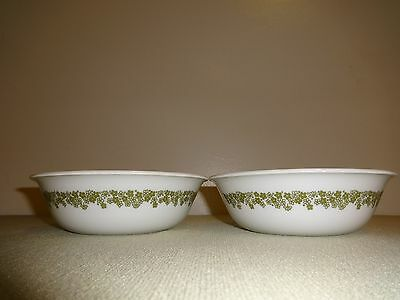 """Set of 2 Corning CORELLE 6 1/4"""" Cereal Bowls Green CRAZY DAISY Spring Blossom"""