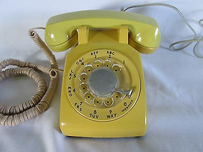 Vintage Bell System Western Electric Classic Rotary Dial Yellow Desk Phone