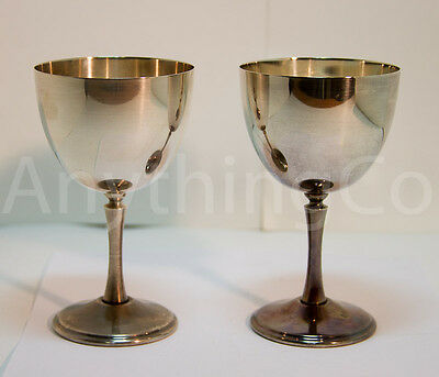 Two Vintage Wine Glass Stamped King's Plate E.P. Brass 664