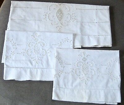 Antique Embroidered French Linen 3 Piece Pillow Cover Set