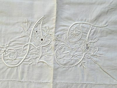 "Pair of Antique French Linen Monogrammed Pillow Covers - 34 1/2""  x  30 1/2"""