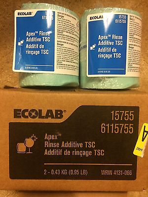 New! Lot of 2 Ecolab Apex/Ecotemp Concentrated Solid Rinse Additive TSC .95lb
