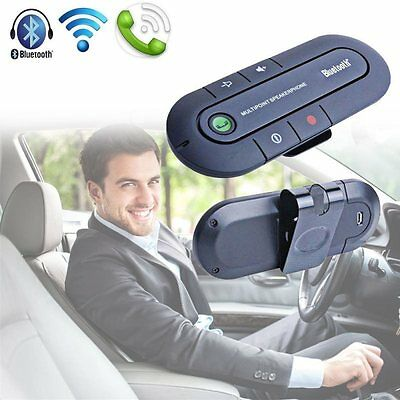 Slim Bluetooth Wireless Speaker Phone Magnetic Hands Free In Car Kit Visor Clip