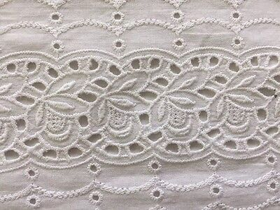 """Vintage White Embroidered Eyelet Lace Runner 14""""x40"""" ~ Shabby Chic!"""
