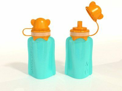 NEW My Squeeze 170mL Reusable Food Pouch- Orange Lid Aqua Body